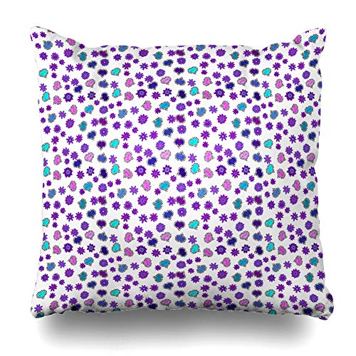 Ahawoso Throw Pillow Cover Bright Blue Valentines Day Abstract Obsession 60S 70S Clip Dot Design Lettering Decorative Pillow Case Home Decor Square Size 16x16 Inches Pillowcase