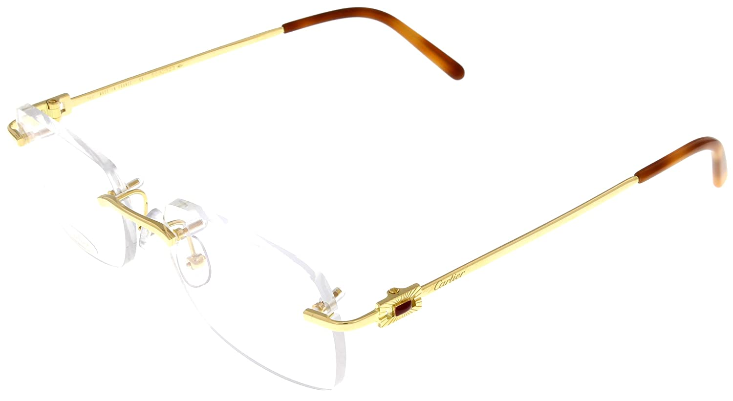 Amazon.com: Cartier Prescription Eyeglasses Frame 18K Gold T8120193 ...