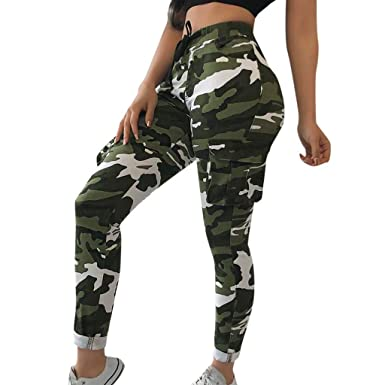 mode de vente chaude nouvelles promotions sélectionner pour authentique Pantalon Femme à Imprimé Camouflage Jogging Casual Sports Taille Haute  Trousers Jeans Cargo Pantalon Militaire de Combat Watopi