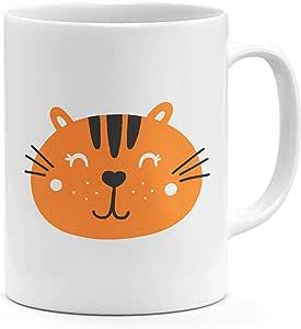 Loud Universe Ceramic Cute Cartoonic Tiger Face Mug, White
