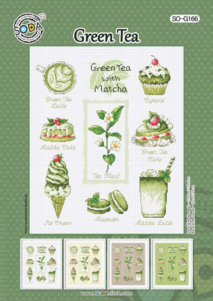 SODA Cross Stitch Pattern Leaflet Authentic Korean Cross Stitch Design Cross Stitch Pattern Chart Color Printed on Coated Paper SO-G166 Green Tea