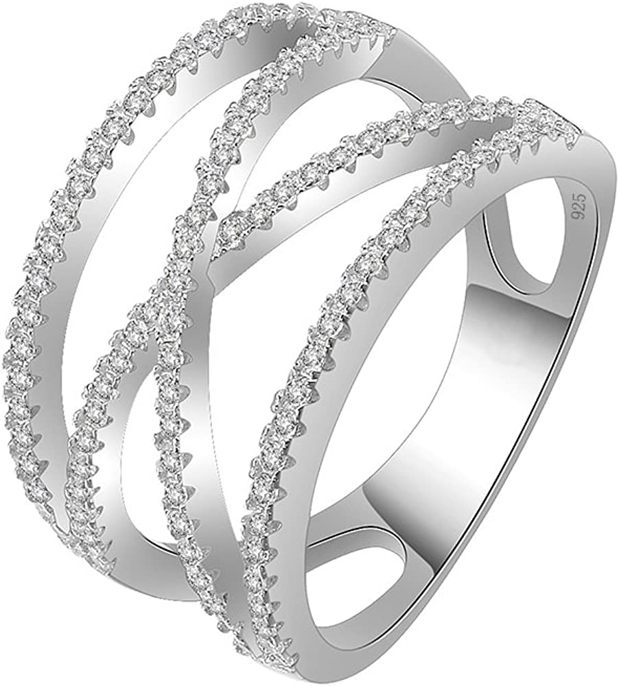 Lavencious Clear Crossover X Ring 925 Sterling Silver Statement with White AAA CZ Criss Cross