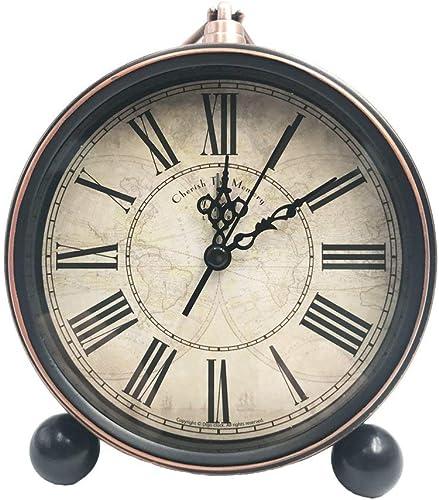 Maxspace Classic Retro Clock, 5.5 European Style Vintage Silent Desk Alarm Clock Non Ticking Quartz Movement Battery Operated, HD Glass Lens, Easy to Read Sz03