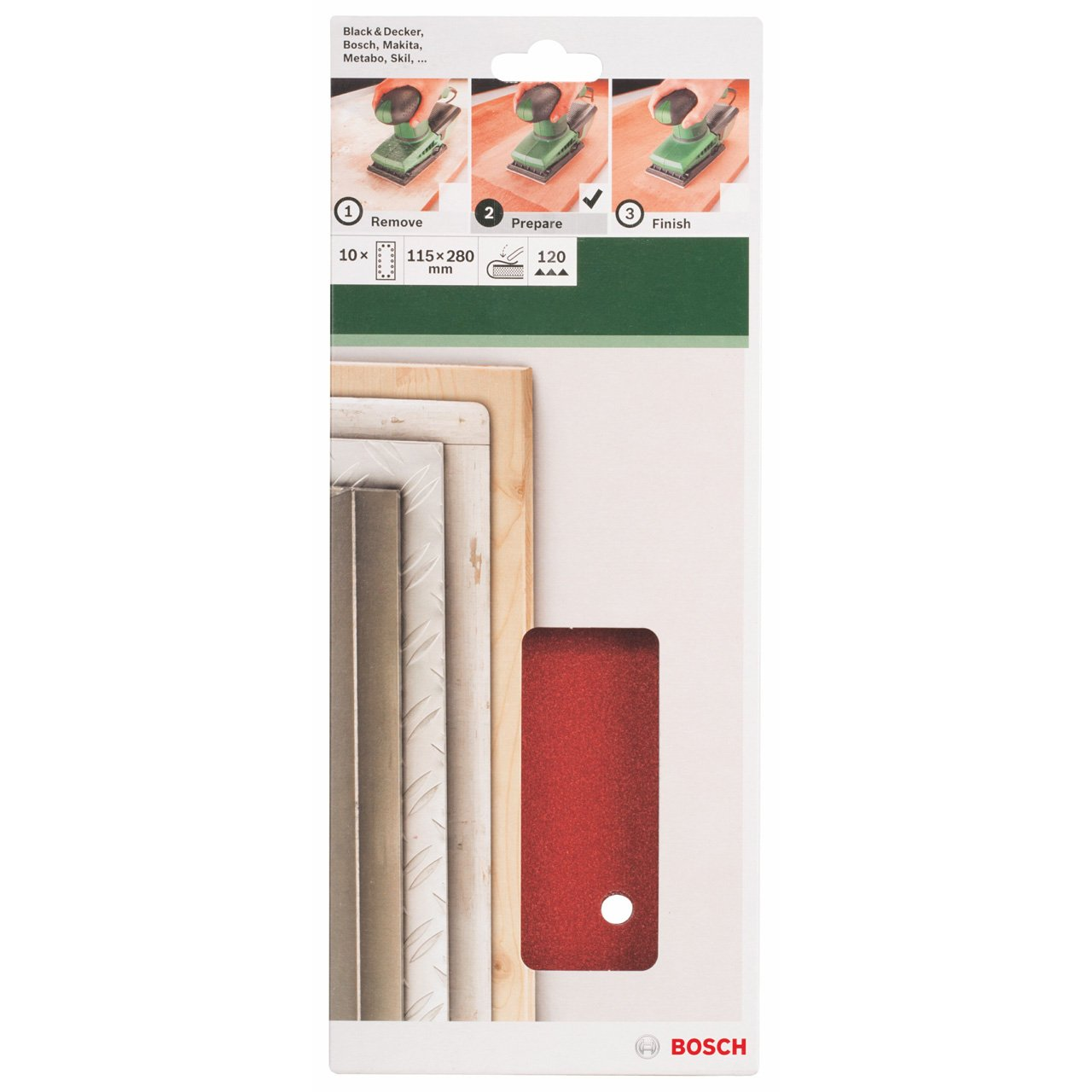 Bosch 2609256B26 Feuilles abrasives pour Ponceuses vibrantes 115 x 280 Nombre de trous 14 Grain 40 Lot de 10 feuilles