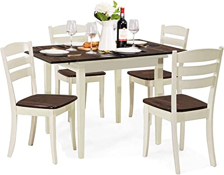 Giantex 5 Piece Dining Table Set With Folding Tabletop Wood Kitchen Table And 4 Chairs Set Modern Extendable Dining Table 31 5 Inch To 47 5 Inch Compact Dinette Set For Small Space