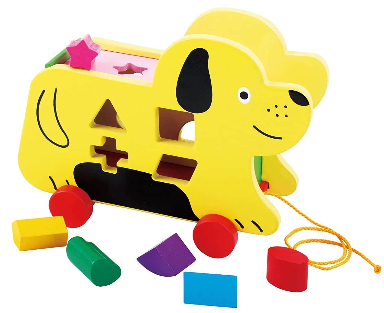 Toys of Wood Oxford Chien en Bois Jouet /à Tirer avec Puzzle de Forme et Jeu De Tri Formes et Couleurs Jouet /à Tirer Bois pour 1 an