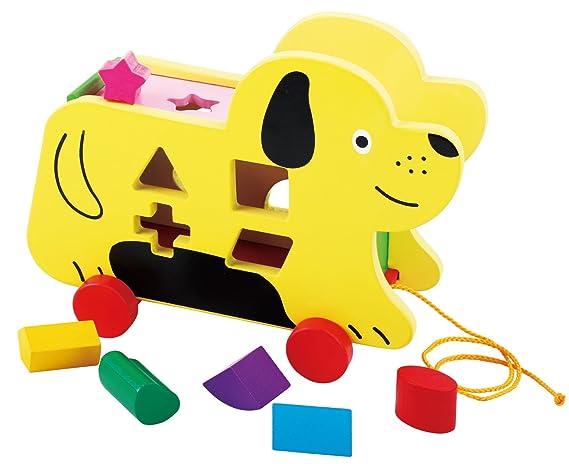 Toys of Wood Oxford Juguete de Madera para Perro - Perro con Ruedas, Piezas de Madera para clasificar - Arrastre con Palo Arrastre con Cuerda Juguetes de ...