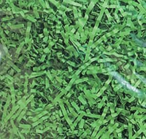 Custom & Unique {2 Ounces} of Crinkle Cut Shredded Gift Basket Filler Paper Made From Tissue w/ Fun Light Vibrant Springtime Festive Simple Versatile Grass Inspired Party Design (Green)