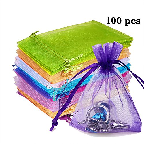 100pcs Organza Gift Bags - 4.33 x 6.29 inch Sheer Organza Drawstring Pouches Jewelry Wedding Party Christmas Favor Candy Gift Bags for Dried Lavender Buds Dry Flowers (Mixed Color)
