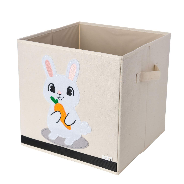 Aufbewahrungsbox und Organisator fü r Kinderspielzeug aus strapazierfä higen, verstä rktem Canvas-Stoff, 33x33x33cm Wü rfel mit Hasen-Motiv von Sun Cat