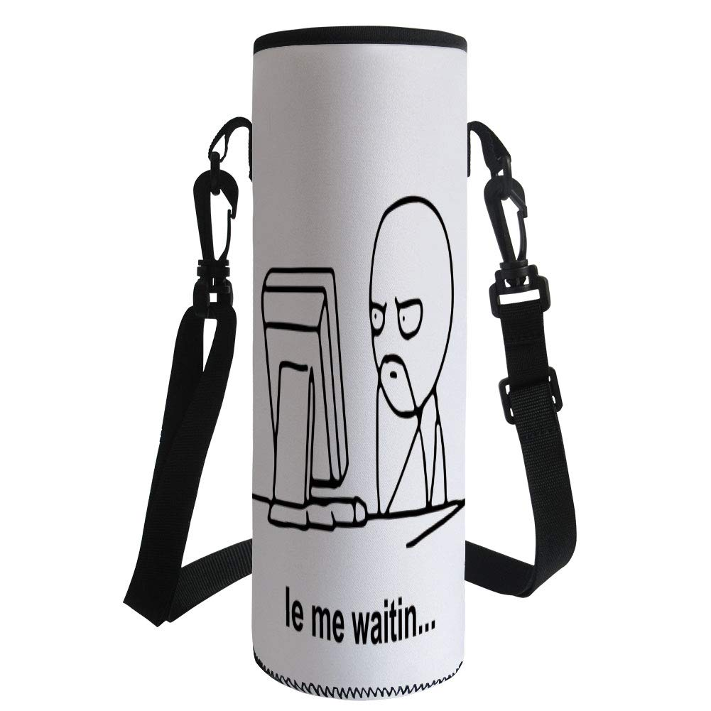 iPrint Water Bottle Sleeve Neoprene Bottle Cover,Humor Decor,Stickman Meme Face Icon Looking at Computer Joyful Fun Caricature Comic Design,Black White,Fit for Most of Water Bottles