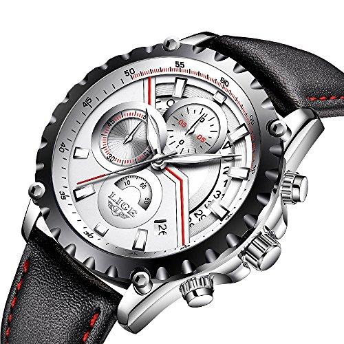 Mens Watches Men Luxury Chronograph Waterproof Sport Date Calendar Analogue Quartz Wrist Watch Gents Multifunction Fashion Casual Business Dress Watches Black Genuine Leather Strap