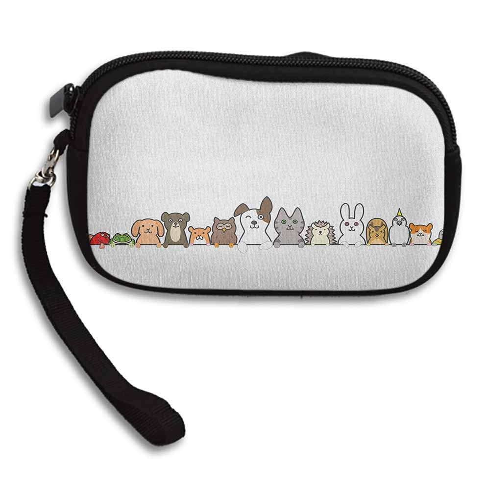 Toddler Female Purse Clutch Cute Domestic Pets Various Animals with Funny Expressions Humorous Cartoon Style W 5.9x L 3.7 Women Wallets Zipper Purses