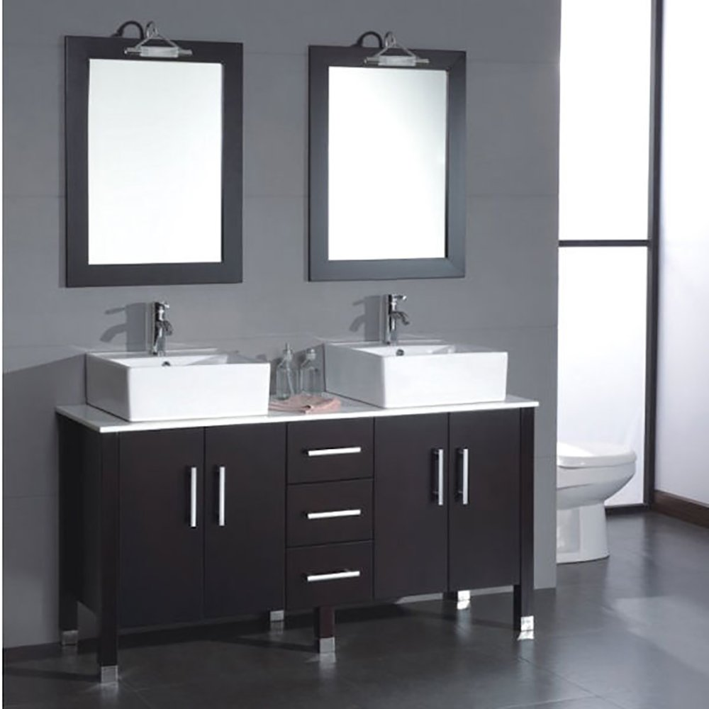 60 Inch Wood & Porcelain Double Vessel Sink Bathroom Vanity Set- ''Dunklin'' by The Tub Connection