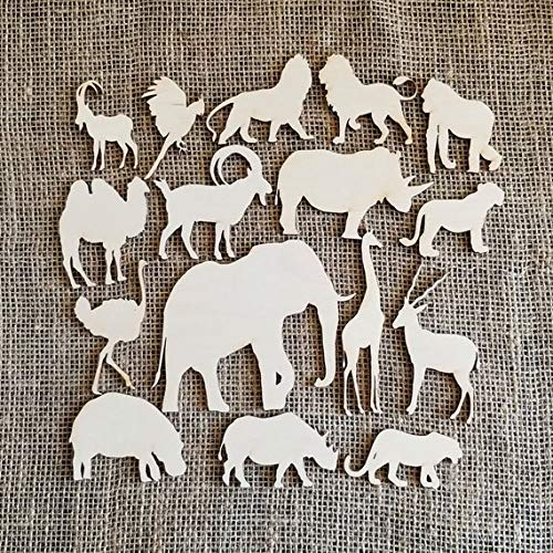 Set of 16 Safari Animals, Wood Cutouts, Tropical Animals, Part Decorations, Made in Canada]()