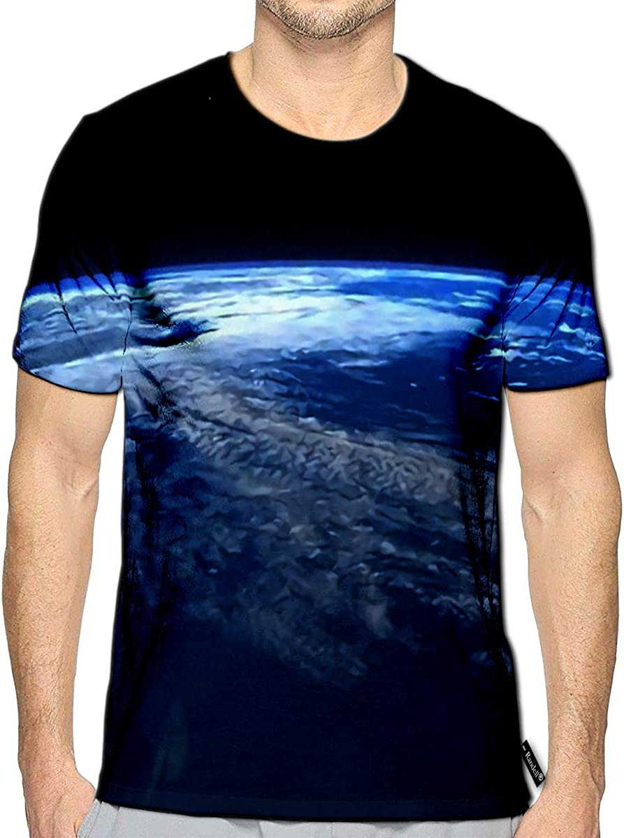 3D Printed T-Shirts Planet Earth Horizon in Space 3D Render Short Sleeve Tops Te