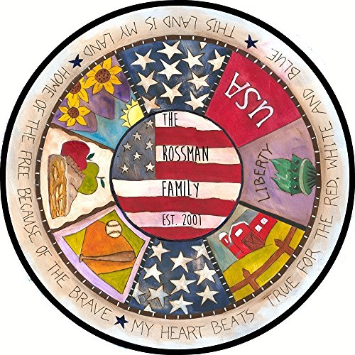 American Flag Patriotic Glass Serving Plate for Father's Day 4th of July BBQ Hostess Gift - 4th of July home decor