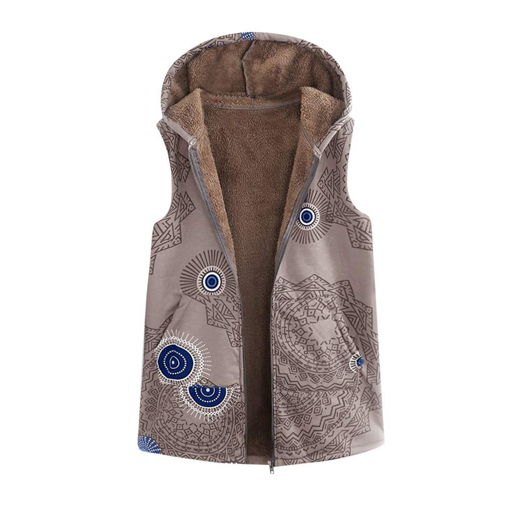 RDTIAN Women Vest Coat Warm Outwear Vintage Geometric Hooded Pockets Oversize
