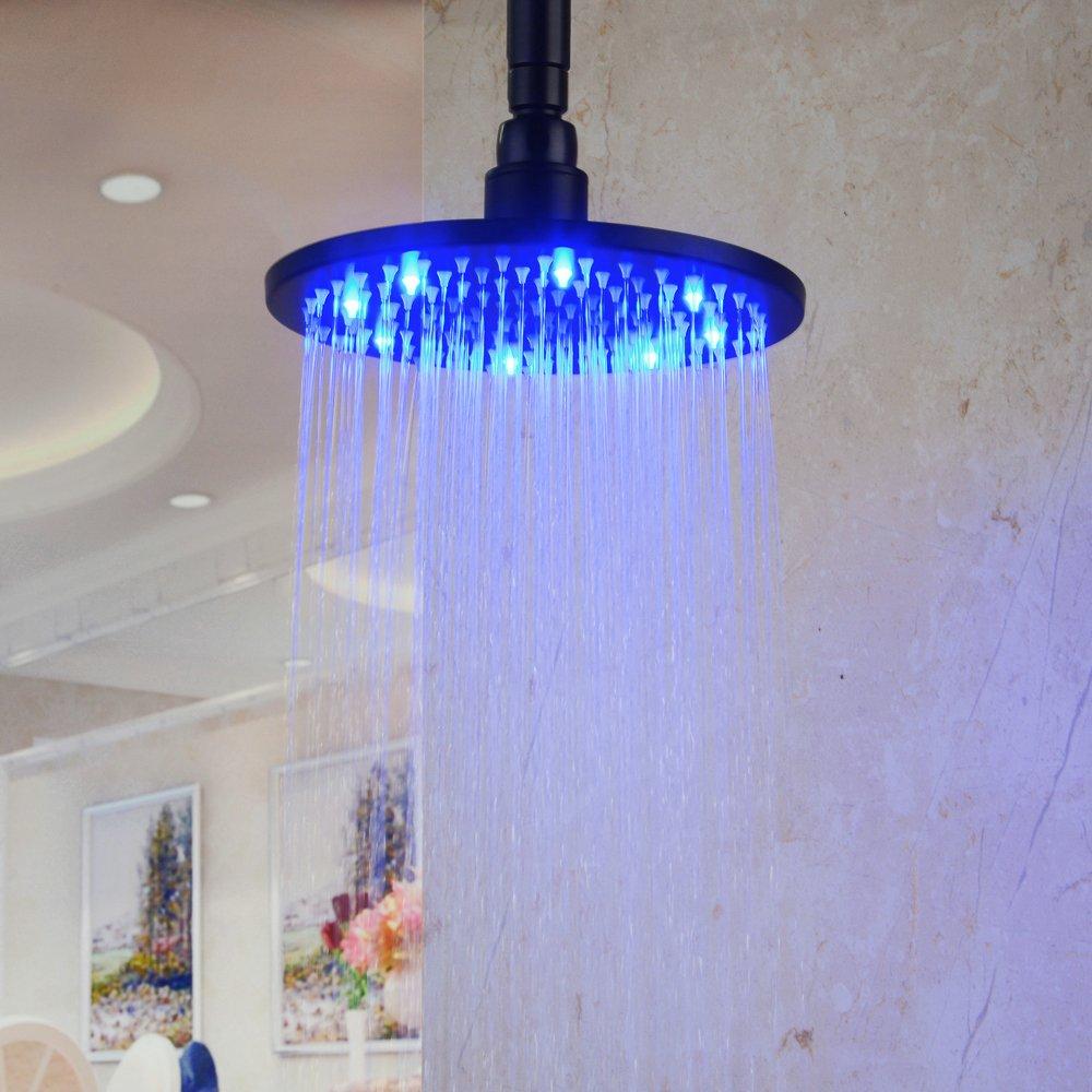 HiendureTM Stainless Steel 8 Inch Round LED Rain Shower
