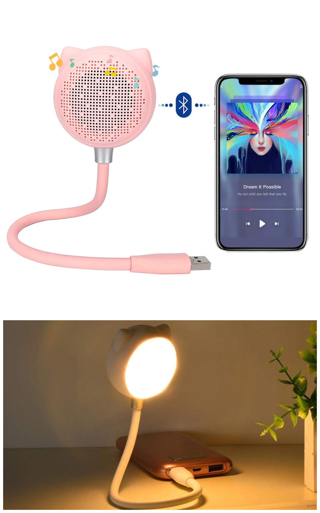 KuDiff Desk Lamp with USB Charging Port Built in Bluetooth Speaker Touch Sensitive Dimmable Brightness & 2 Color Mode, Creative Reading Lamp with Bluetooth Music Night Light Flexible USB Goose Neck