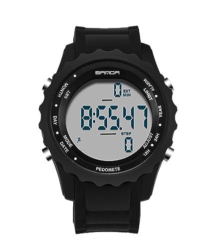 Superior de Smart reloj digital de silicona hombres deportes al aire libre actividad diaria podómetro reloj de pulsera para los estudiantes: Amazon.es: ...