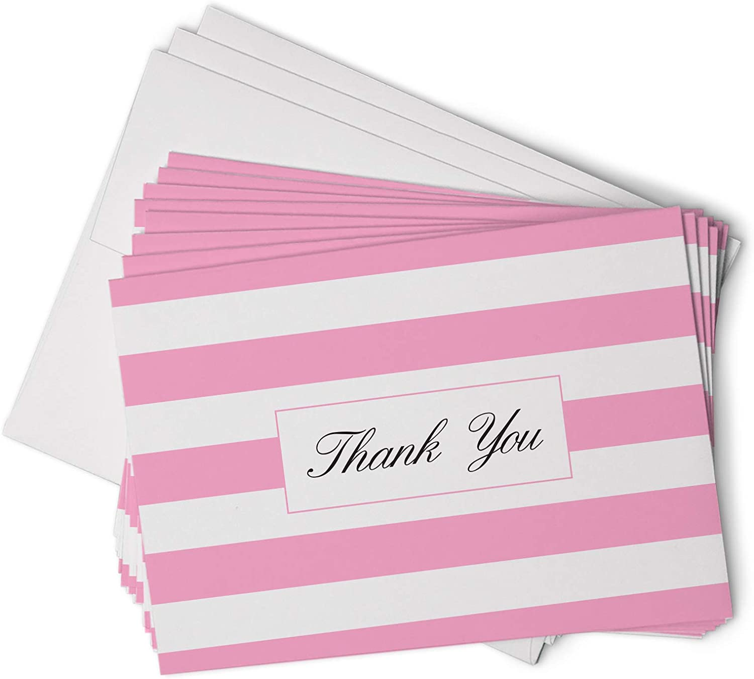 Pink Striped Thank You Cards - 48 Classic Note Cards with Envelopes - Perfect for Special Events & Businesses