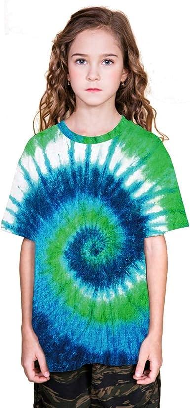 Camiseta 3D con Estampado de vórtice Verde Camiseta de Manga Corta Estampada de niña de niño Camiseta de Manga Corta de Verano Camiseta Informal: Amazon.es: Ropa y accesorios