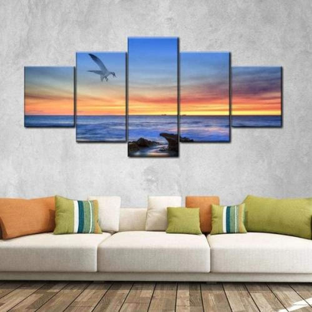 QMCVCDD Modular Canvas Pictures Wall Art Peaceful Beach 5 Pieces Painting Living Room Prints Poster Home Decor