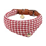 Miaosun Adjustable Leather Dog Collar Style Charming Plaid Scarf for Small Pet (red plaid scarf)
