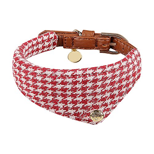 Miaosun Adjustable Leather Dog Collar Style Charming Plaid Scarf for Small Pet (red plaid (Collar Scarf)