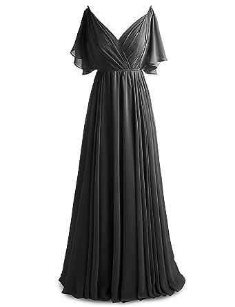 0ab300040cb Gardenwed Women s V-Neck Chiffon Bridesmaid Dress Long Flowy Prom Evening  Dress Short Sleeves Black