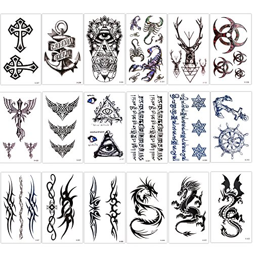 Konsait Temporary Tattoo Kit for Adults Kids Women Men(18 Sheets), Temporary Tattoo Stickers Paper Fake Tattoo Paper Body Sticker Set for Party Favors,Dragon Eye Deer Head Geometric Vine Chakra ()
