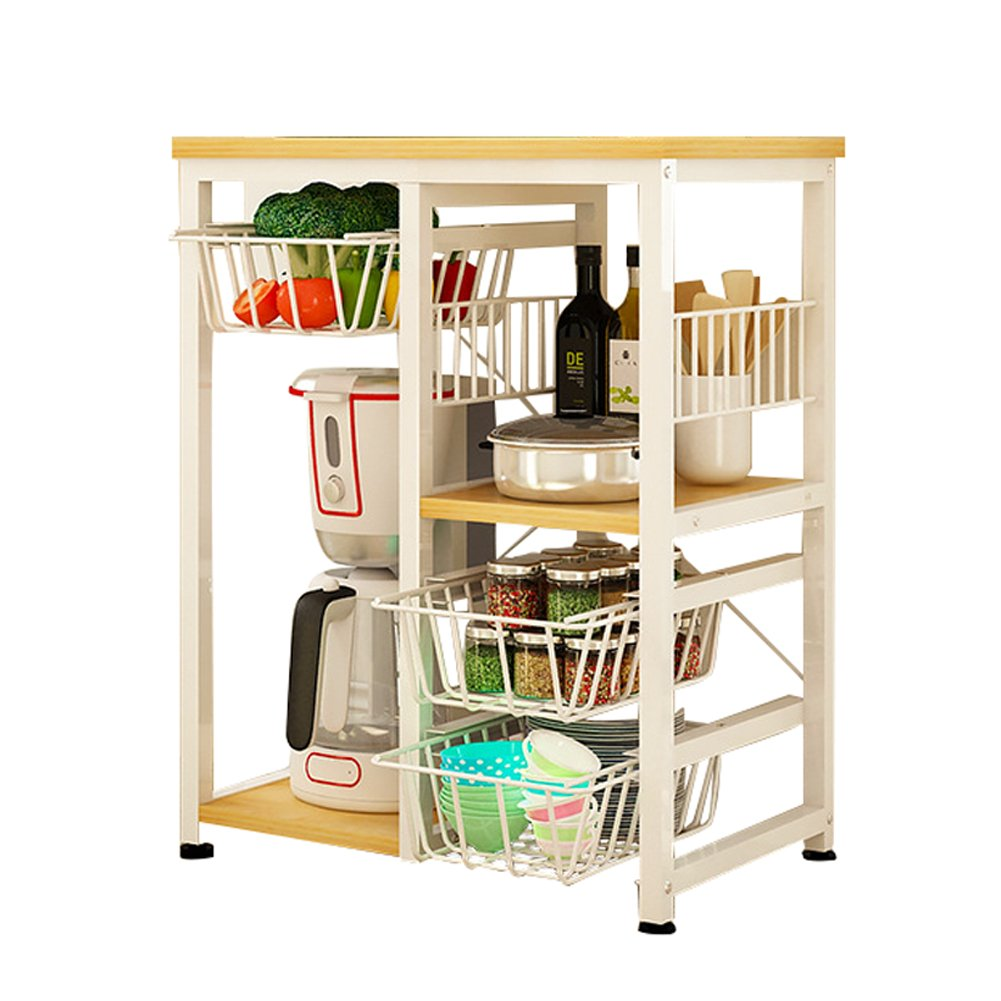 Yontree 3-Tier Kitchen Baker's Rack Utility Storage Trolley Rolling Cart Laundry Cart Flowerpot Shelf Gap Storage Rack Moveable Bookcase for Kids White 17.7x11x33 in.