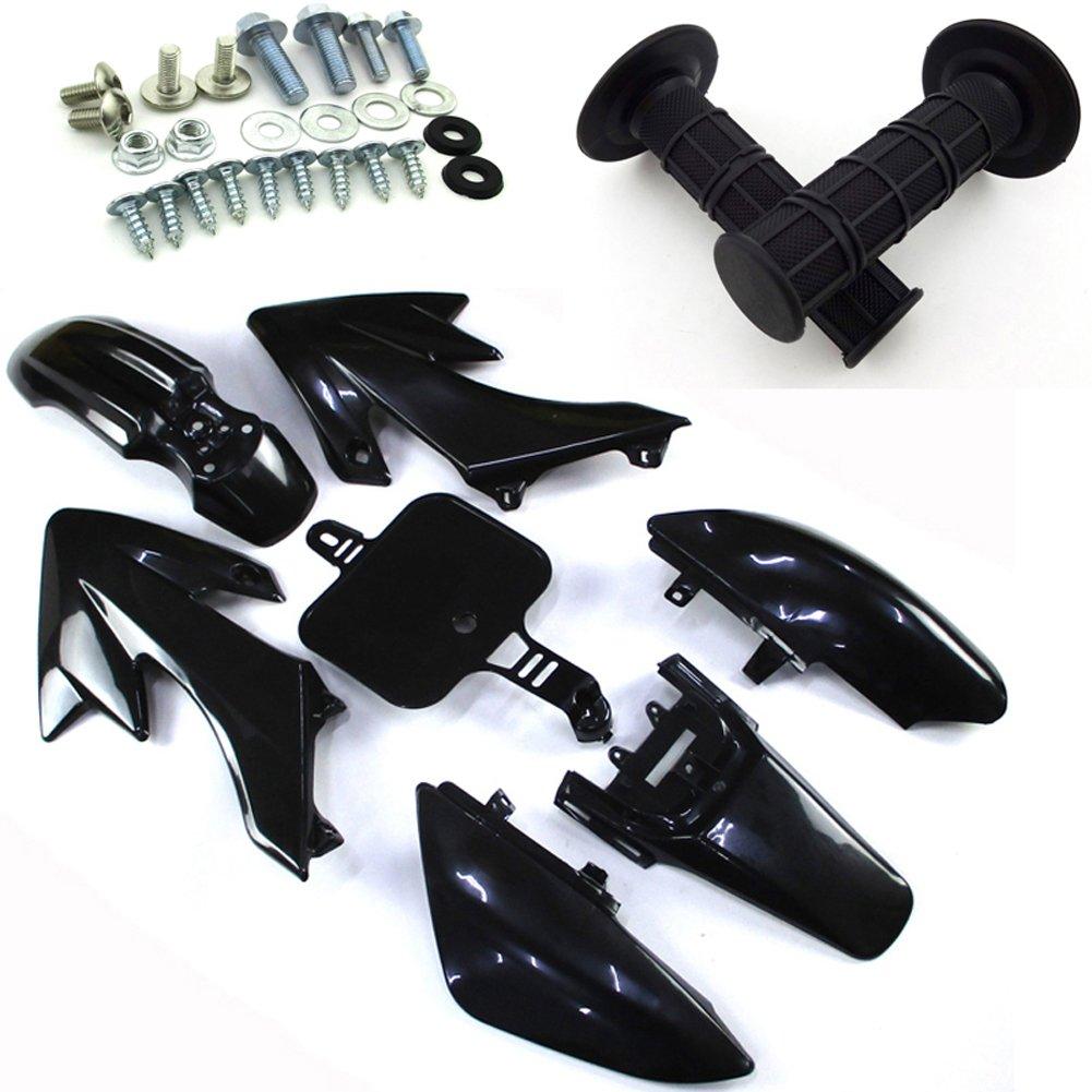 TC-Motor Black Body Work Fender Fairing Kit Plastic Bolt Screws Kits Throttle Hand Grips For Honda Dirt Bike CRF50 XR50 50cc 90cc 110cc 125cc 150cc 160cc Pit Bike