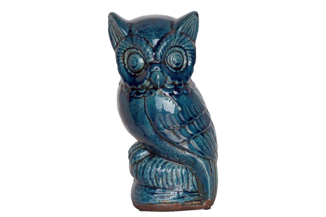 Urban Trends 76380-UT Decorative Ceramic Owl Turquoise