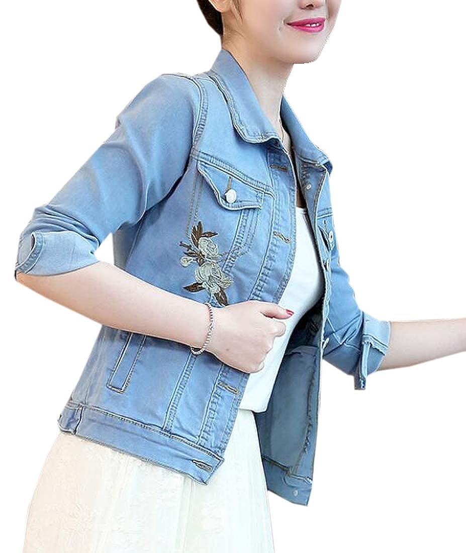 MOUTEN Womens Stretch Slim Long Sleeve Embroidery Denim Jacket Coat Outwear
