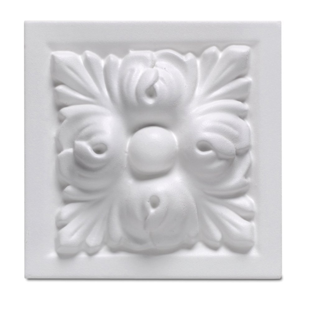 16 Pieces Rutherford Block Rosette 4 Inch square corner block for door, window, or wall frame. Primed White Polyurethane D3543 by WI Millwork
