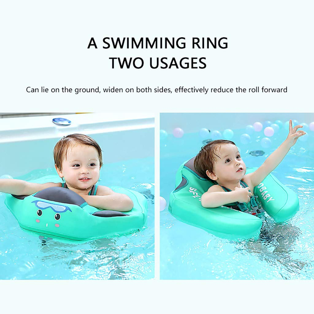 Green Fullfun Swimming Float Non Inflatable Smart Swim Trainer Pool Float with Canopy Swim Ring with Sun Shade