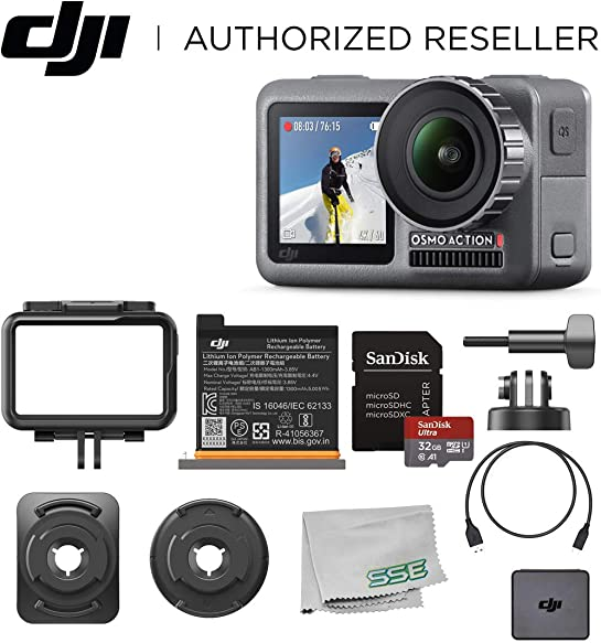 DJI Osmo Action 4K HDR Waterproof Camera Beginners Bundle – with Free SanDisk Ultra 32GB microSDHC