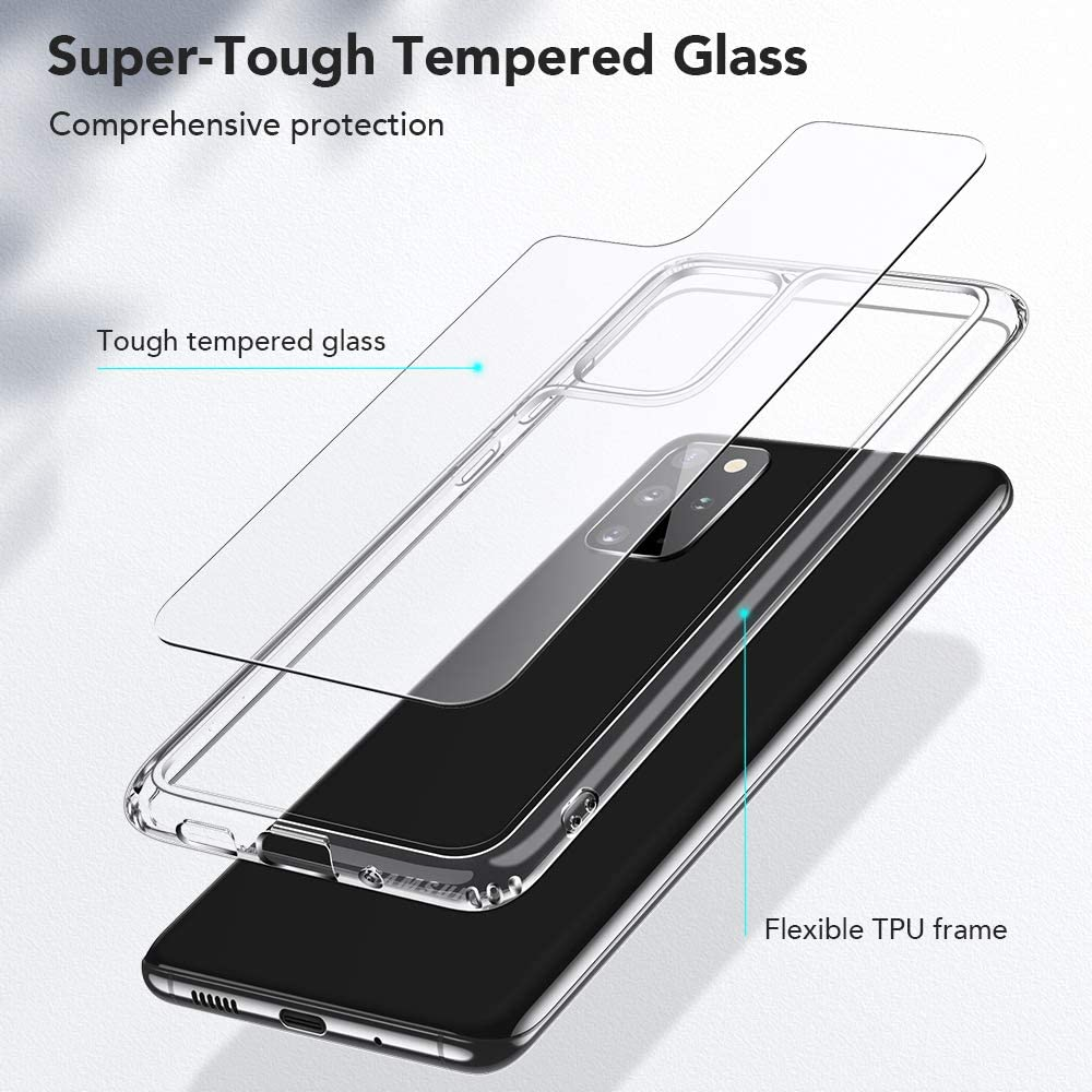 Soft Bumper Mimic Series 9H Tempered Glass Back Cover with TPU Frame Scratch-Resistant ESR Glass Case for Samsung S20 Plus//S20+//S20+ 5G Clear Protective Case for Samsung Galaxy S20 Plus