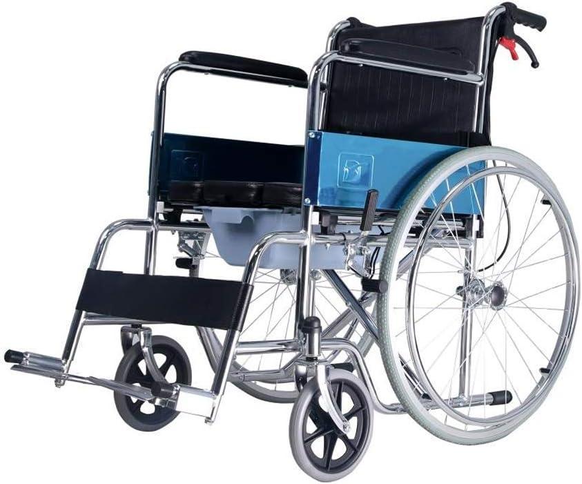 Walker Silla de Ruedas Plegable Multifuncional Aseo Ligera cojín de Cuero Adecuado para los Ancianos en Silla de Ruedas discapacidad motriz Walker Cuidados en el hogar