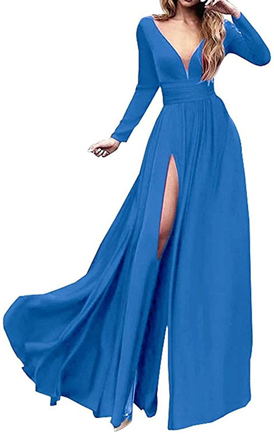 bluee Ri Yun Women's Double VNeck Long Sleeve Prom Dresses Long 2019 Side Slit Formal Evening Ball Gowns