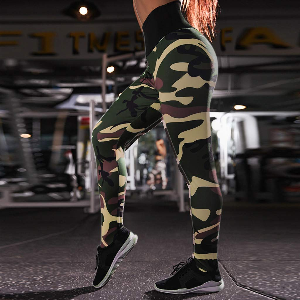 Allywit Casual Leggings, Women's Fashion Workout Camouflage Sports Pants Elastic Waist Running Skinny Yoga Trousers