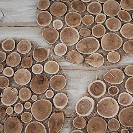 Natural Wood Branch Slice And Burlap Round Placemat 15 Inches Pack Of 10 Amazon Co Uk Kitchen Home
