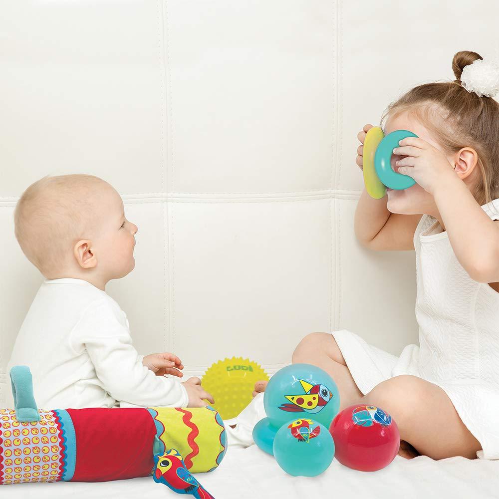 LUDI Sensorik Spiel Set Spielzeug-Set für sensorische Entwicklung und frühe Sinneswahrnehmung | Pyramide + Massage Ball + aufblasbare Rolle | Ab 6 Monaten Koffer