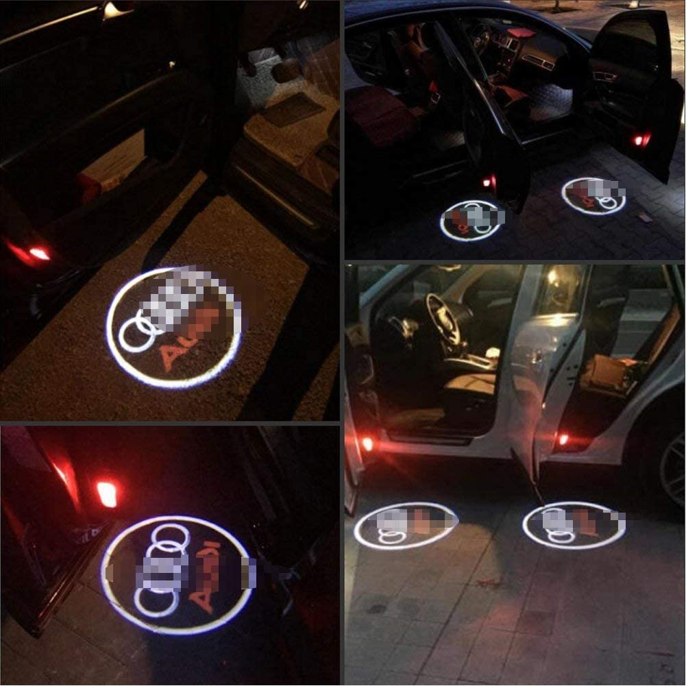 Car Door Projector Ghost Logo Shadow Light 2 Pack LED Car Door Courtesy Step Projector Lights for A1 A3 A4 A6 A8 A6L A4L R8 TT Q7 Q5