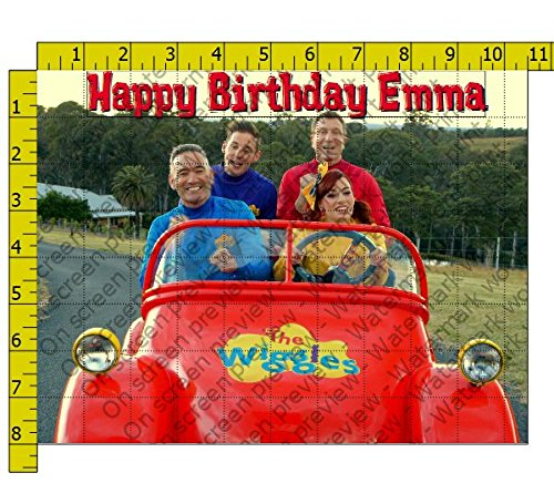 (Wiggles with Emma and the Red Car Edible Frosting Image 1/4 sheet Cake Topper)