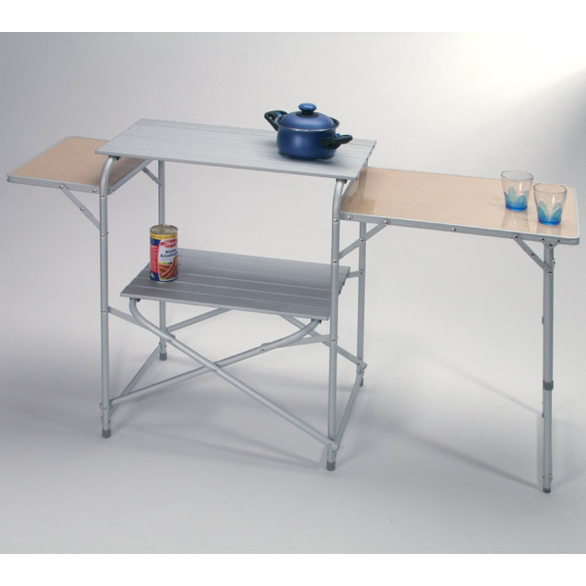 Camping-Küche Luzern 2 Kunststoff Abstellflächen und großer Alu Arbeitsfläche: Campingmöbel Reiseküche Kocherschrank Camping Schrank Zeltzubehör