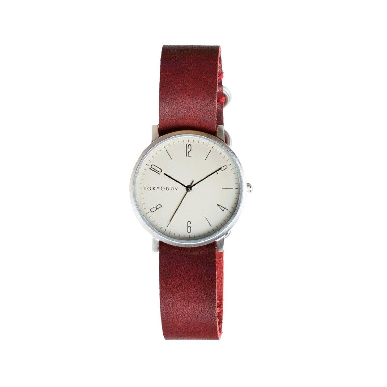 TokyoBay t333-rd Herren Edelstahl rot Leder Band Weiß Zifferblatt Smart Watch