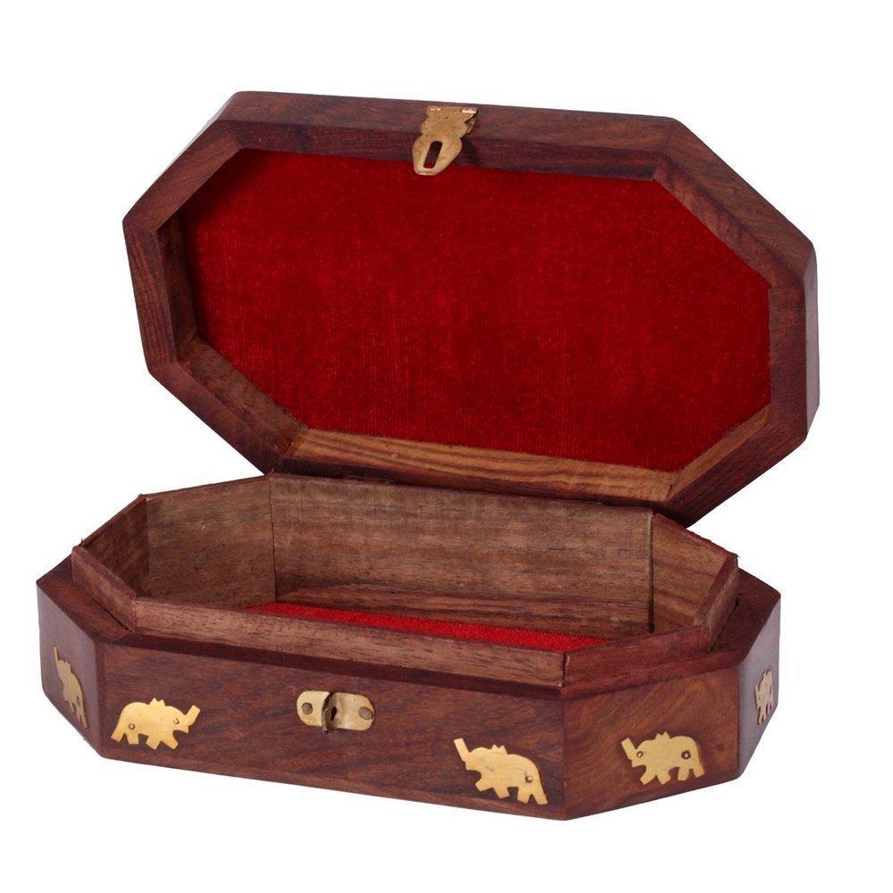Le fabriqu/é /à la main en bois en forme de Octal Big indien Bo/îte /à bijoux incrustations en laiton Unique Motif /él/éphant